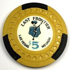 Last Frontier 7th Edition $5 Mustard Diamond 3 Black R-White Poker Chip 2LF7TH19