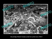 OLD POSTCARD SIZE PHOTO BRACEBRIDGE ONTARIO CANADA AERIAL VIEW OF TOWN c1940 1