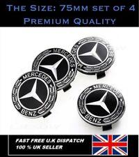 Mercedes Benz Alloy Wheel Centre Caps 75mm Badges Black Hub Emblem x 4 -Fits All