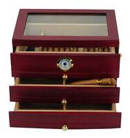 Elegant 75+ CT Count Cigar Humidor Humidifier Wooden Case Box Hygrometer threa