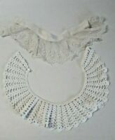 Vintage Crocheted Lace Collars Set of 2 White Detachable Handmade Victorian 1064
