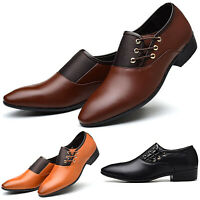 Men Slip On Oxfords Leather Shoes Pointed Toe Wedding Formal Dress Work Shoes