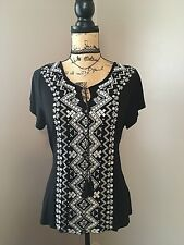 International Concepts Beach Top Sz L Summer Vacation Embroidered Silver Studs