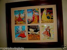 SPAIN - VINTAGE MINIATURE TOURIST POSTERS  IN FRAMES