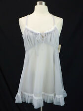 NOS Vintage Val Mode Gray Sheer Chiffon Nylon Babydoll Nightgown Lace Trim M