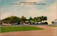 Tucson Arizona~Thompson Trailer Park Town~Mobile Homes~Trailer Court~1950 Linen