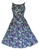 Vintage Style 40's 50's Antelope & Floral Print  Damask Full Circle Dress 8 - 18