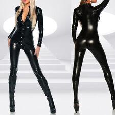 Women Lingerie Wet Look Jumpsuit Long Sleeve Bodysuit Catsuit Clubwear Costume