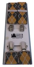 mazeys Hombre fabricada en Inglaterra 35mm Marrón/Mostaza rombos Tirantes…