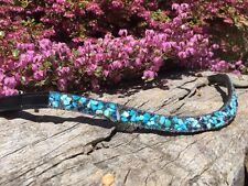 Browband Beautiful Bling Blue Crystal Brow Band -  Warmblood, Full, Cob , Pony