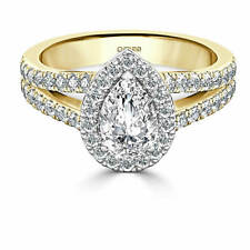 2.00 Ct Pear Cut Solitaire Diamond Wedding Ring 14K Real Yellow Gold Size M N