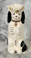 Royale Stratford Staffordshire Hand Painted Toby Dog Pitcher Vintage Black/White