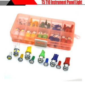 40Pcs T5 T10 5050 SMD Car Dashboard Instrument Indicator Light 5 Colors LED Bulb