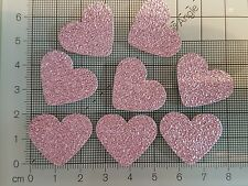 50 Large Pink Hearts Glitter Diamante Effect card making scrapbooking craft