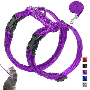 Bling Sequins Cat Harness and Lead Nylon Small Kitten Puppy Escape Proof Vest