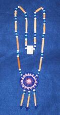 Beaded Turtle Rosette Necklace w/ Bone Hairpipe  Native American Regalia #14