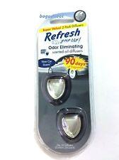 2 PK X 2 Refresh Mini Scented Oil Diffuser Car AC Vent Air Fresheners, NEW CAR