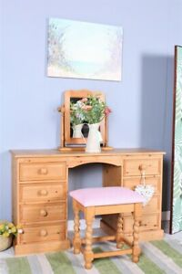 DELIVERY OPTIONS - SOLID PINE DRESSING TABLE MIRROR & STOOL 8 DRAWERS WAXED