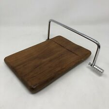 Vintage Cheese Cutter Wire Wood Slicer Serving Board Tray Mid Century Modern
