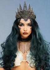 Womens Gothic Mermaid Black Glitter Crown