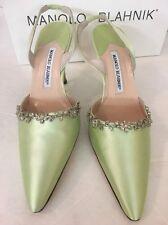 Manolo Blahnik Shoe Celadon Satin Rhinestone New Size 37 1/2