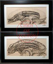 Xenomorph Alien HR Giger Set of 2 Framed Mated Art Print Signed Chris Oz Fulton!