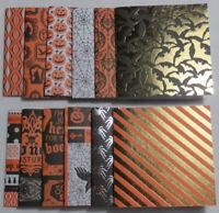 "Halloween Handmade Gift Tag Card blank 3"" x 3"" 1 each style Lot Set of 12 w/foil"