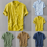 Plus Size Summer Men's Solid Cotton Linen Short Sleeve Shirt Blouse Loose Tops