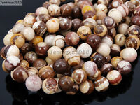 Natural Brown Zebra Gemstone Round Loose Beads 15.5'' 4mm 6mm 8mm 10mm 12mm 14mm