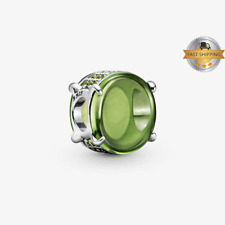 Green Oval Cabochon Charm For Bracelet, 925 Sterling Silver, Mother Gift