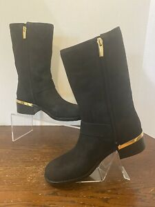 Vince Camuto Leather or Suede Mid Calf Boots- Wadelyn - Black - 6 1/2M (EU 37)