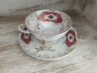 Gorgeous Vintage Mid Century Modern Footed Pearl Tea Cup Saucer Gold Trim Japan