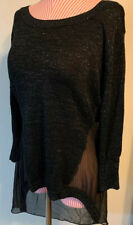 NICKI MINAJ BLACK SPARKLY SWEATER TOP WITH SHEER MESH ACCENTS SIZE LARGE