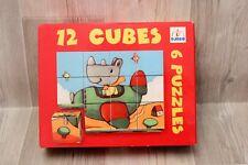 Djeco Puzzle 12 cubes =6 puzzles pour les tout petits sur le thème des véhicules