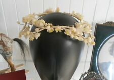 Antique Edwardian Waxed Orange Blossom Flower Bridal Tiara Headpiece C1900s