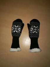 Handschuhe Norweger Muster Fäustlinge schwarz weiß Stoff mehrlagig Gr. 110 Neu