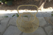 Old basket wire yellow, vintage kitchen utensils
