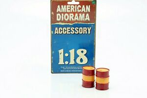 Red Oil Drums - Accessory Set of 2  - 1:18 Scale - American Diorama