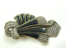 SPILLA VINTAGE  JEWEL BROOCH PIN STERLING SILVER RIBBON MARCASITE ART DECO STYLE