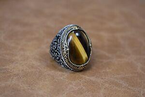 Handmade 925 Sterling Silver Men's Ring Tiger Eye Stone Size:10.5 USA Turkish