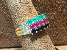 14KT. Yellow Gold Sapphire,Emerald and Ruby ladies Ring.VERY UNIQUE!