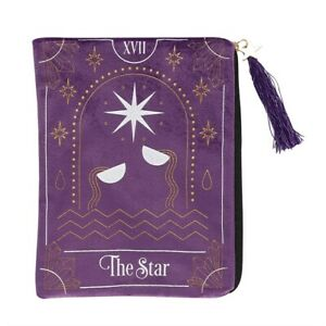 THE STAR - VELVET ZIPPERED TAROT CARD BAG WITH STAR CHARM .Pagan/Wiccan. 20cm.