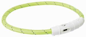 Trixie 12701 Flash Leuchtring USB, TPU/Nylon M–L: 45 cm/ø 7 mm grün für Hunde