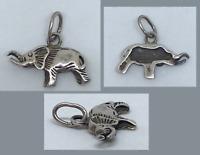 Joli PENDENTIF ANCIEN ARGENT MASSIF ELEPHANT CHAINE BIJOUX WWF CADEAU