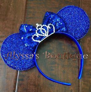 Minnie Mouse Headband New Sparkly Blue Ears Sequin Bow Princess Rhinestone Tiara