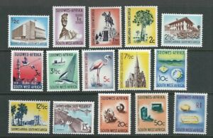 SOUTH WEST AFRICA SWA 1961-63 DIAMONDS, CHRISTCHURCH, TOPAZ (Sc 266-80) VF MNH