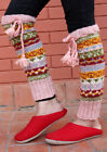 Light Pink Multicolor Hand Knitted Winter Legwarmers