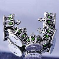 5pcs Charm Gateway White GF/Silver Green CZ european Beads Fit DIY Bracelet