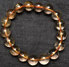Hair Rutilated Crystal Bracelet 12mm Natural Gold Quartz Golden