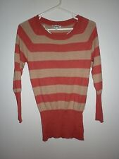Miss Shop Ladies Sweater in an Angora Blend with a Fawn and Orange Stripe Size S